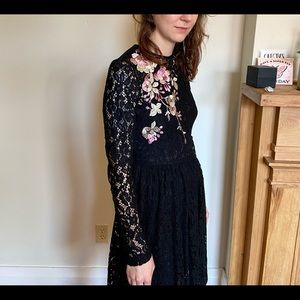 ASOS Dresses - ASOS Black Lacey Dress with Embroidery